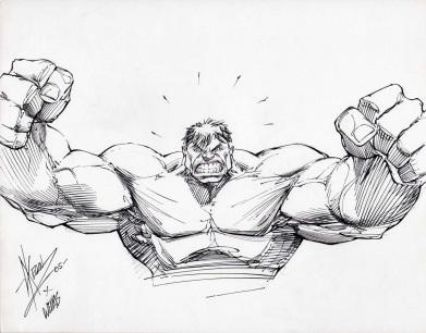 Keown Hulk bust inks Weems